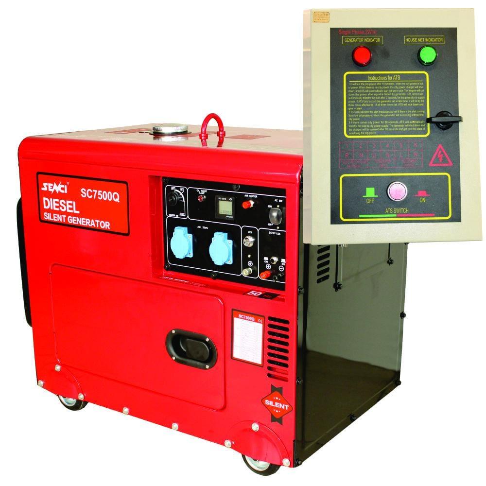 Generator SC7500Q-ATS, Putere max. 6.0 kW, 230V, AVR, motor Diesel