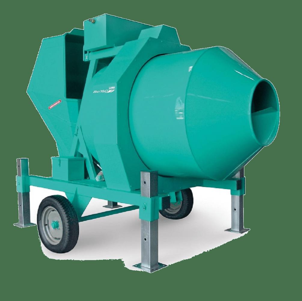 | Betoniera semi-automata BIR 1500, motor diesel Hatz, 34.5 cp, capacitate 1500 l, productie beton 22 m³/h |