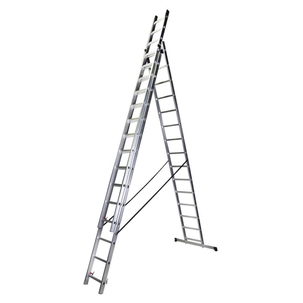 STR315 Scara tripla 15 trepte, 4.13 m aluminiu
