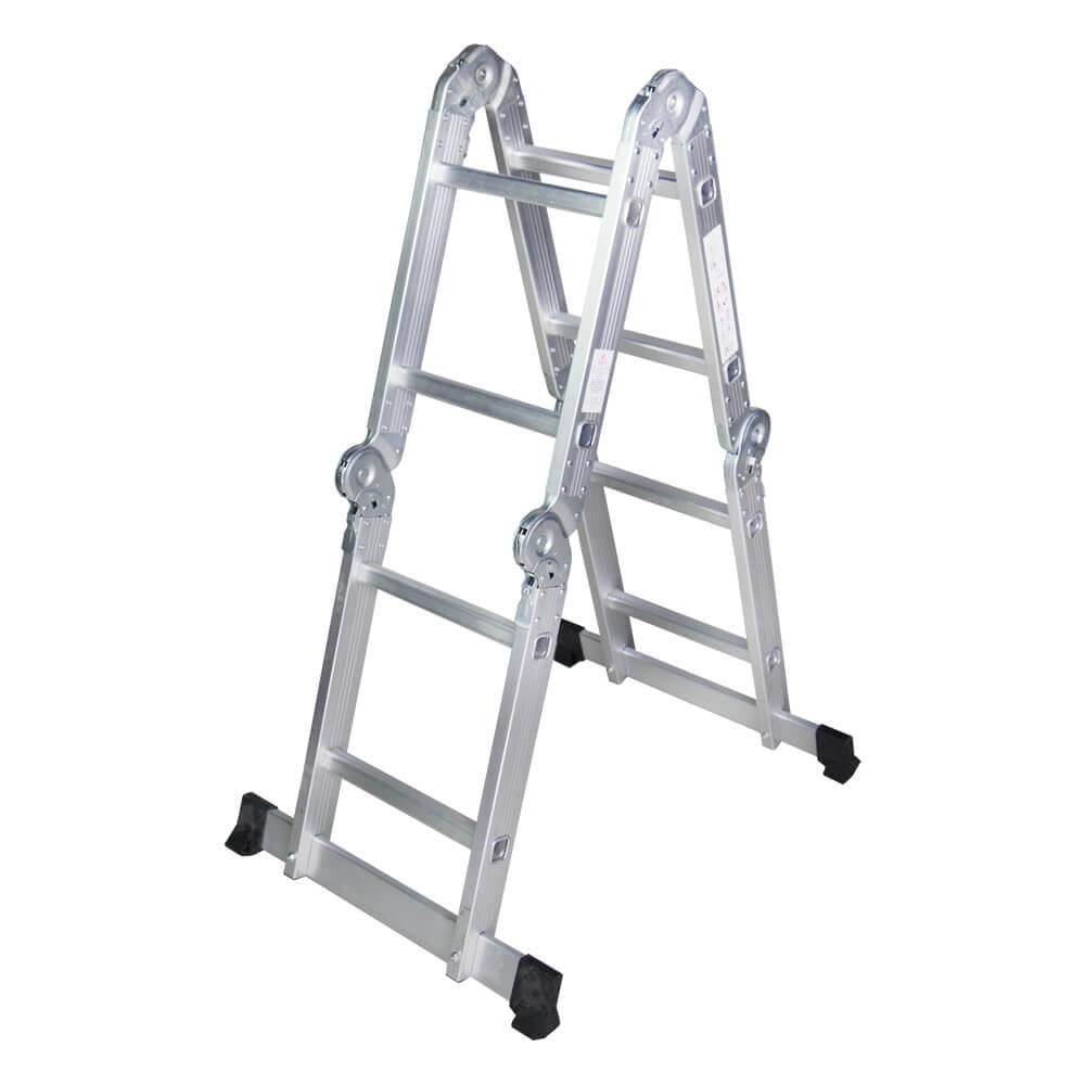 STR402 Scara multifunctionala din aluminiu 4 segmente x 2 trepte, 2,5 m