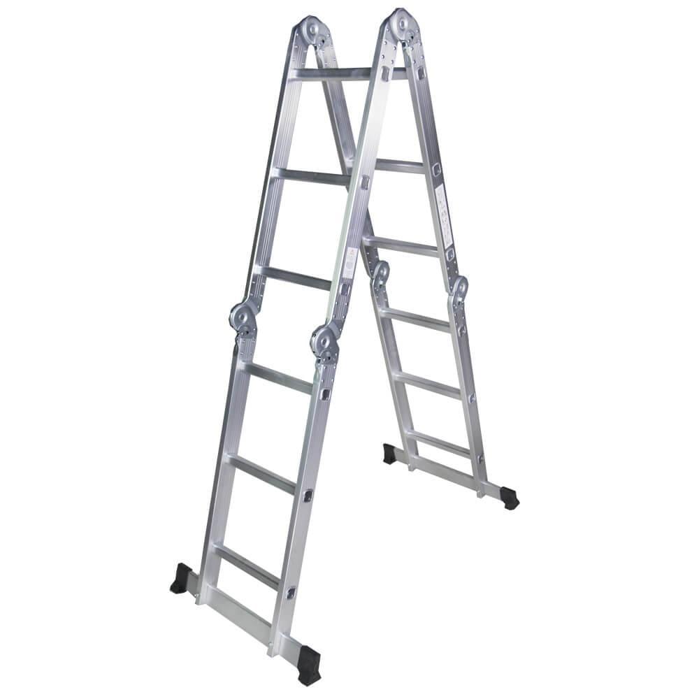 STR403 Scara multifunctionala din aluminiu 4 segmente x 3 trepte, 3,6 m