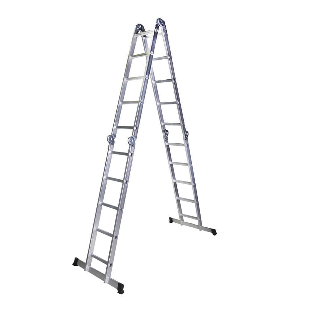 STR405 Scara multifunctionala din aluminiu 4 segmente x 5 trepte, 5,8 m