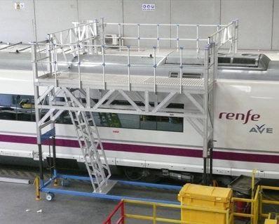 Set de 2 platforme din aluminiu pentru acces la acoperișul trenului AVE